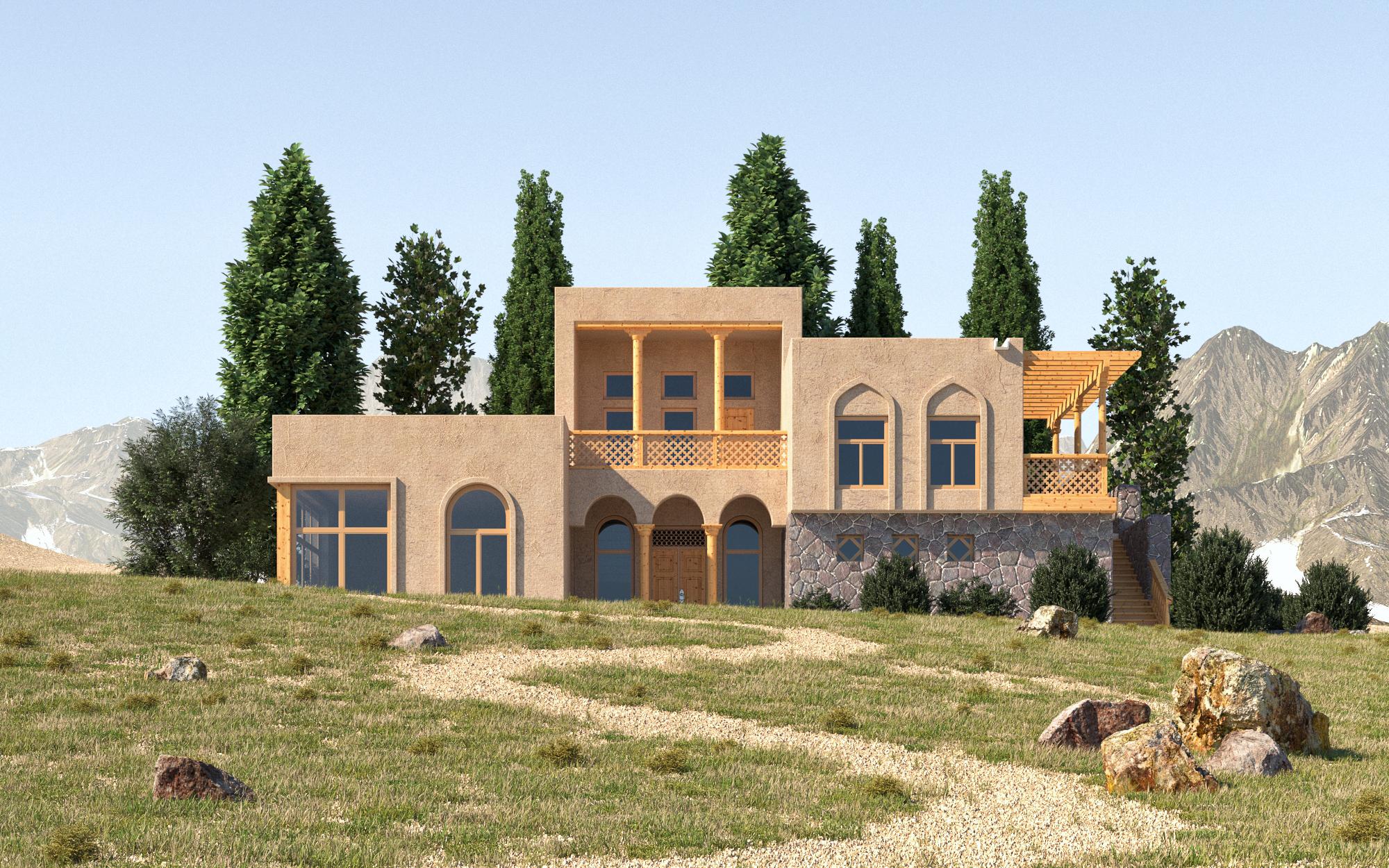 ताजिकिस्तान की पारंपरिक वास्तुकला 3d max corona render में प्रस्तुत छवि