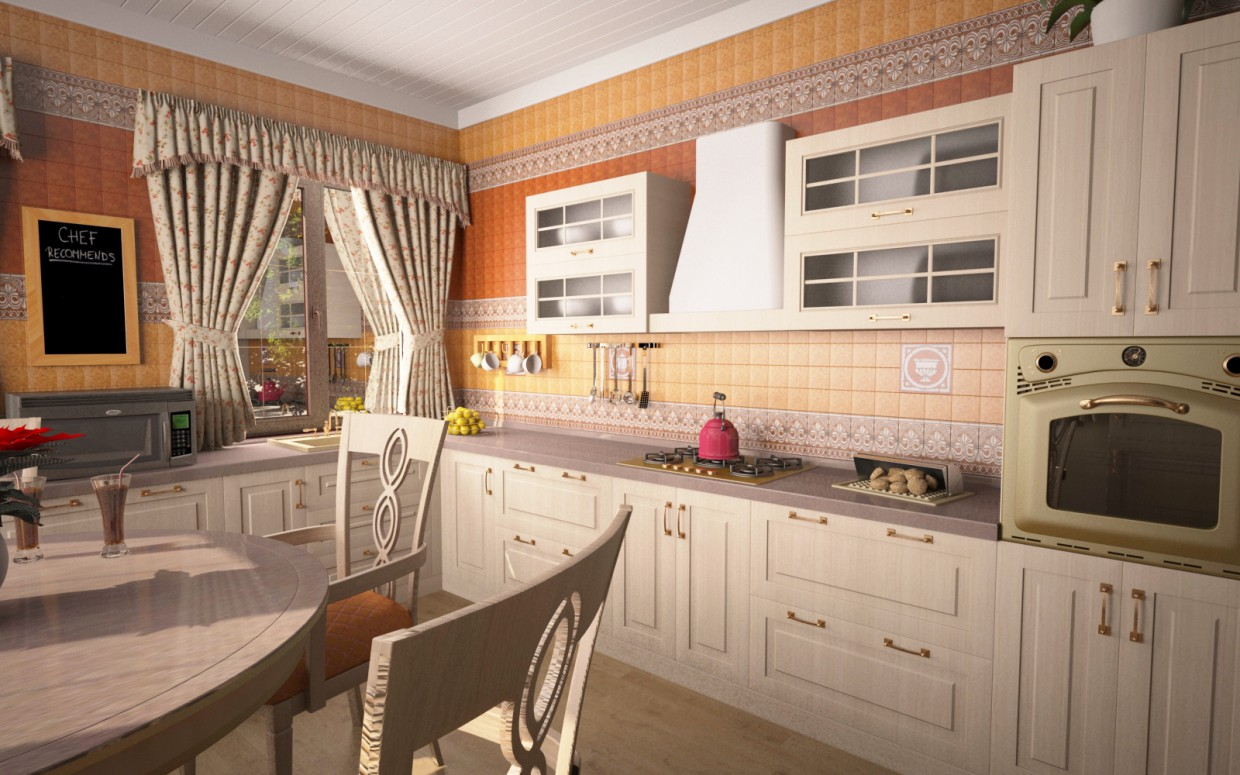 Kitchen and Hall in 3d max vray image