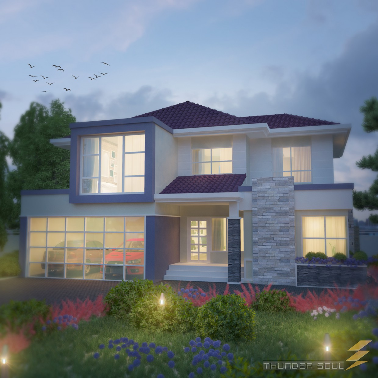 Semi-moderne Low-Budget-Haus-Design 3D Visualisierung und Design, 3D ...