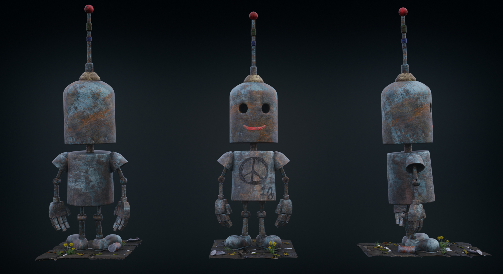 just a robot in Blender cycles render image
