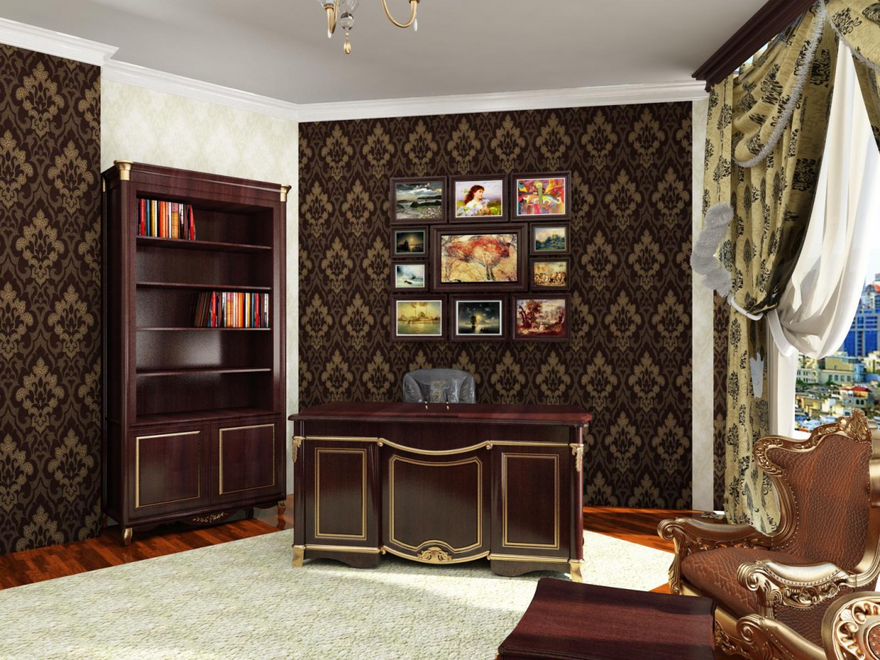 classic office in 3d max vray image