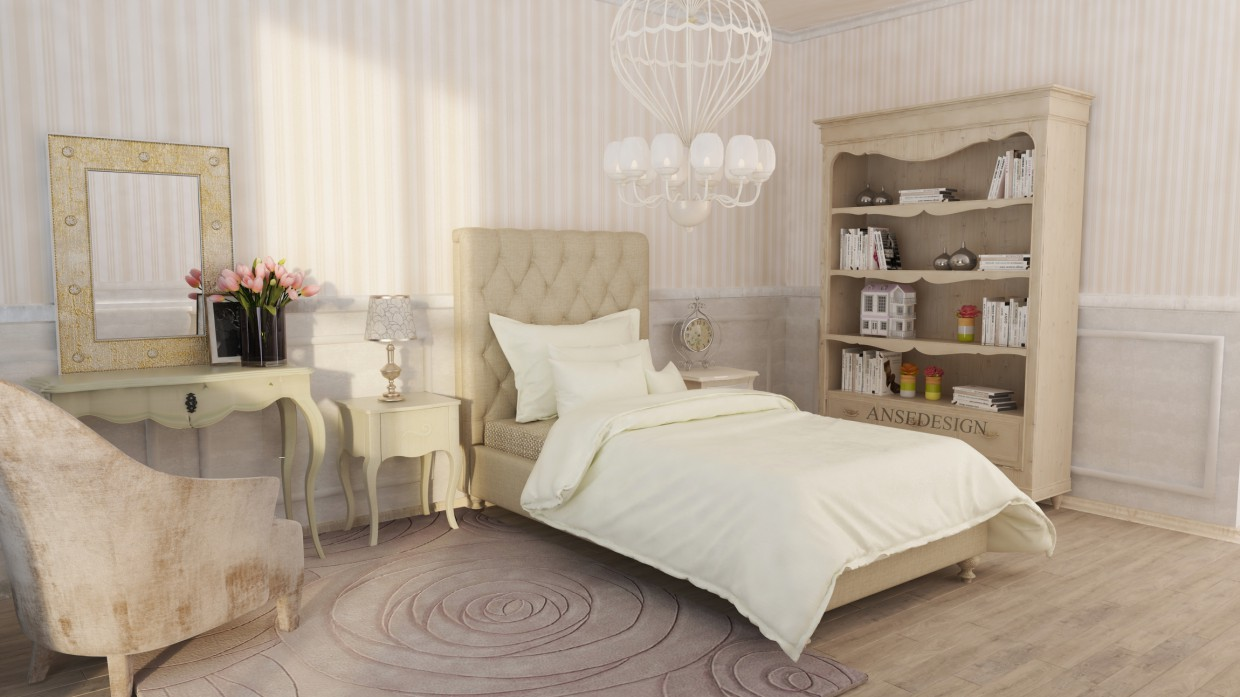 Room teenage girl in 3d max vray image