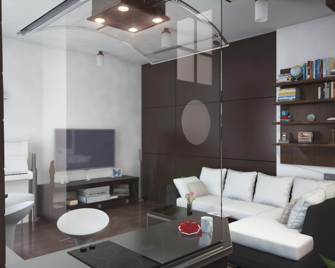Small studio apartment 37.8 sq m. in 3d max vray image