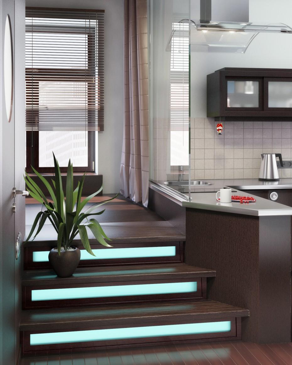 Маленькая квартира-студия 37,8 кв.м. в 3d max vray изображение