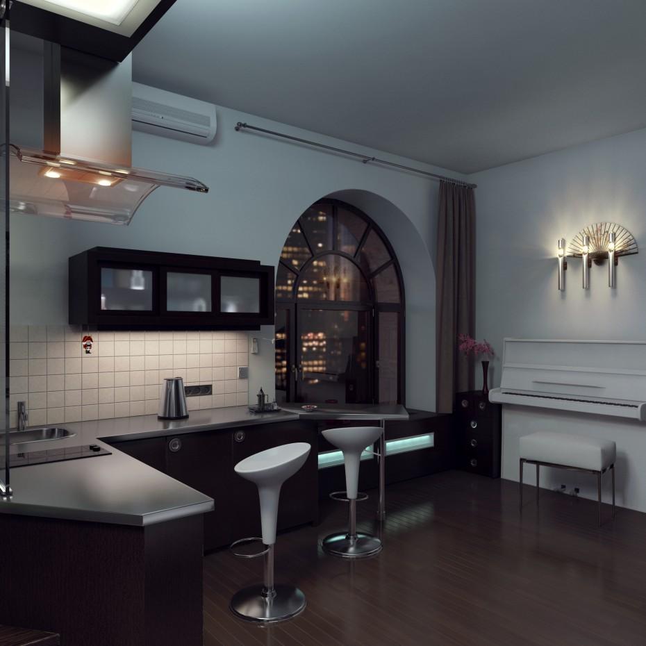 imagen de Pequeño estudio apartamento 37,8 metros cuadrados. en 3d max vray