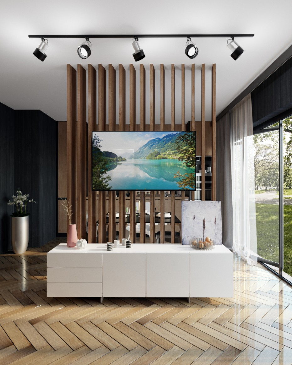 Interior of residential house in 3d max corona render image