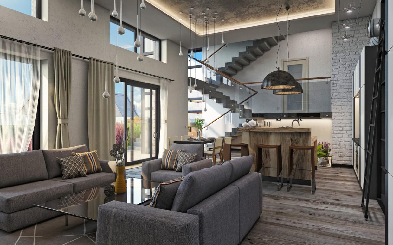 """Residential complex """"DAVIS"""". Duplexes. Studio. in 3d max corona render image"""
