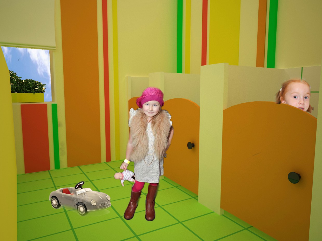 The interiors of the kindergarten in 3d max vray image
