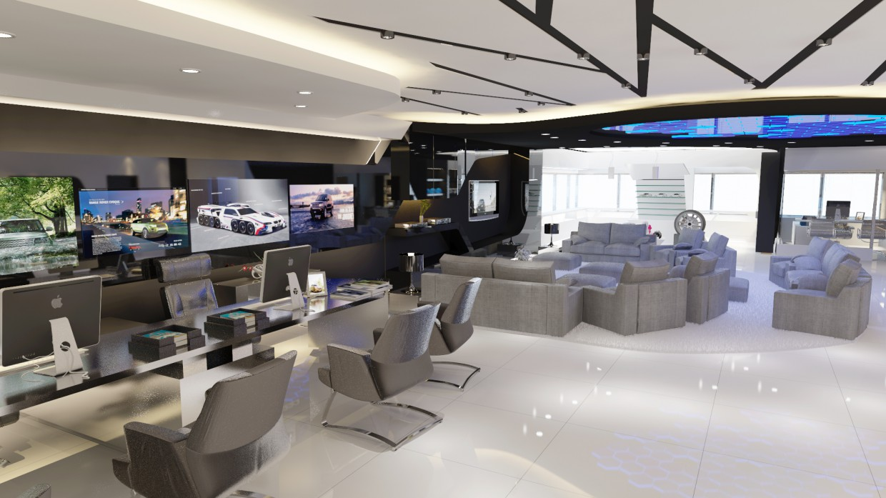 bmw service center 3d visualization and design, work in 3D