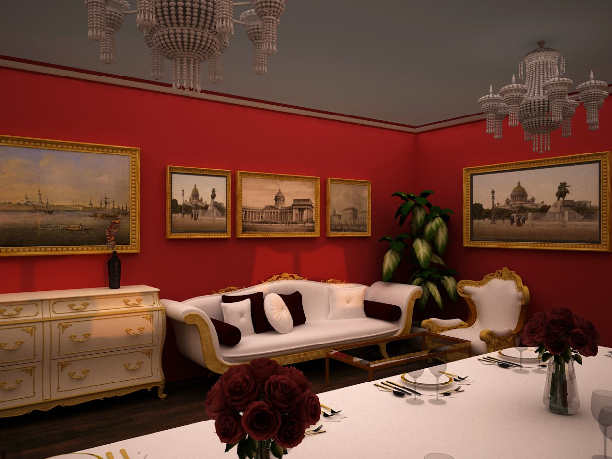 The Interior of the restaurant in classic style in 3d max vray image