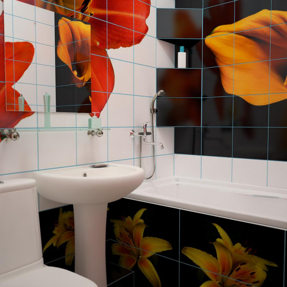 Bathroom of lilies in 3d max vray image
