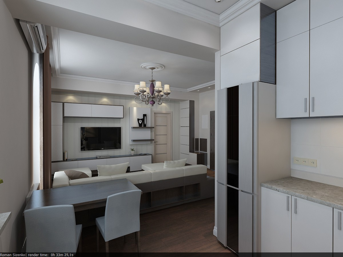 Квартира 50м2 в 3d max vray изображение