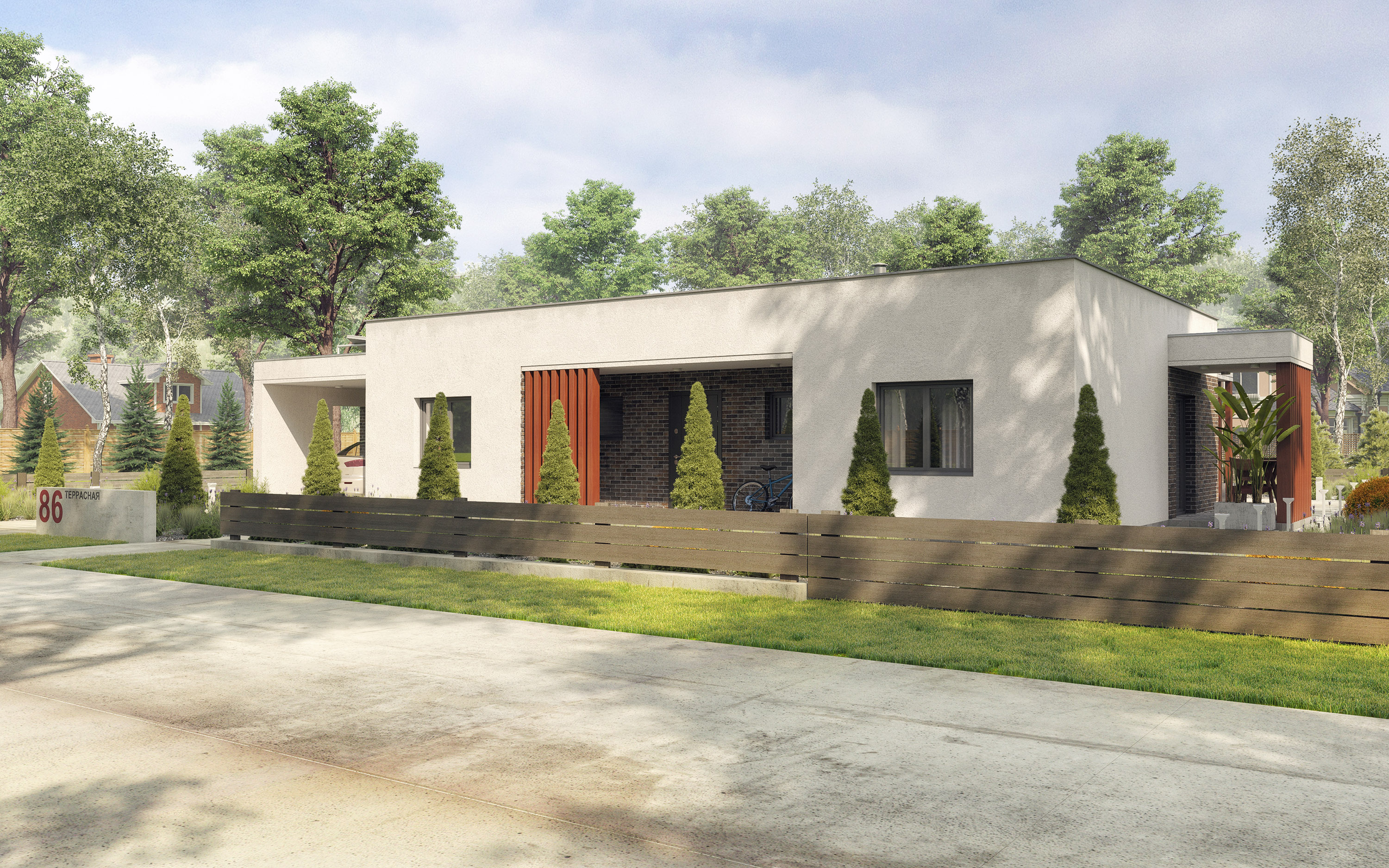 Residential building made of polystyrene concrete panels. in 3d max corona render image