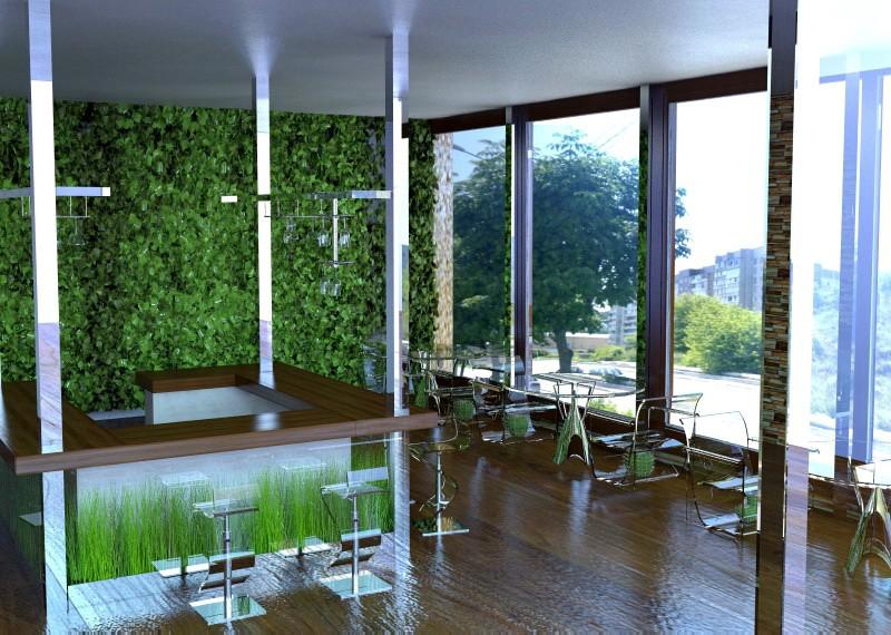 Кафе, бар первого этажа в 3d max vray изображение