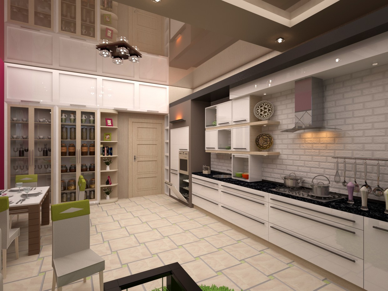 Large spacious kitchenette in 3d max vray image
