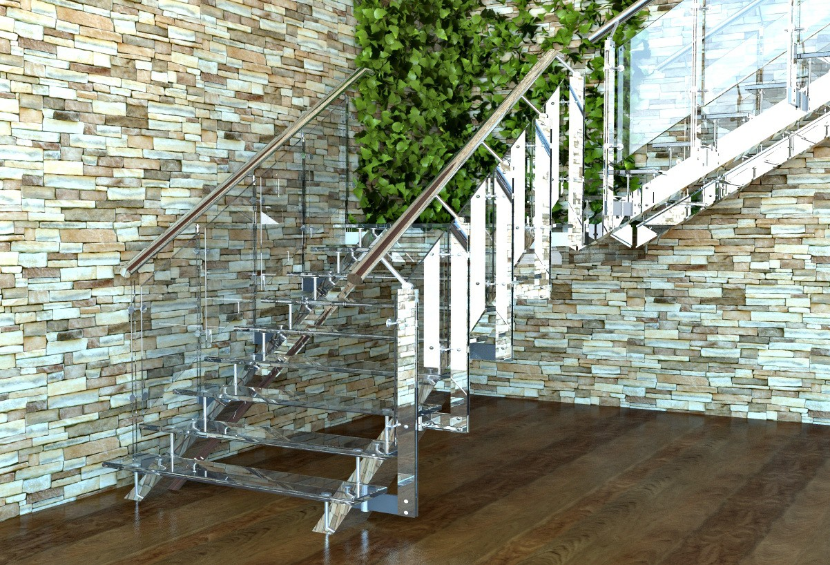 Staircase in the lobby in 3d max vray image
