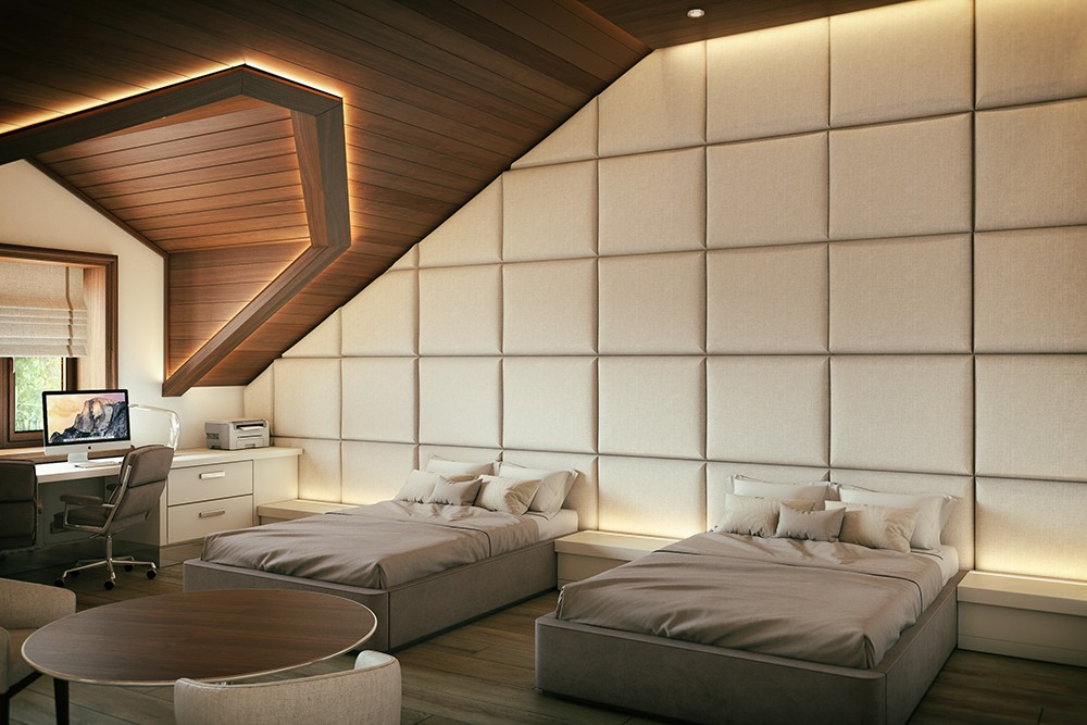 Twin boys room in 3d max corona render image
