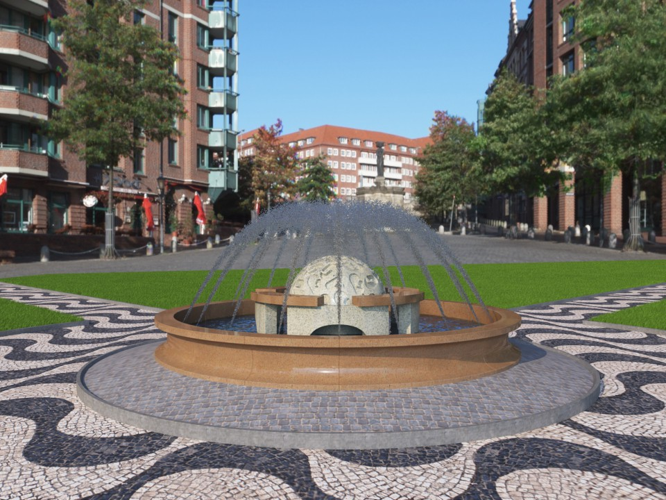 Fountain in the city  in  3d max   vray  image
