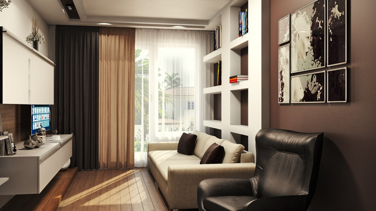 Apartment in the style of minimalism in 3d max vray image