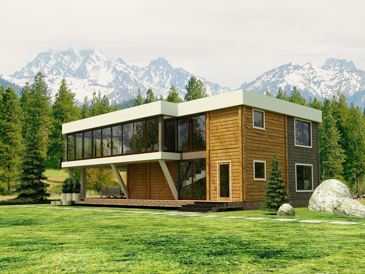 3d visualization of the project in the Log cabin 3d max, render vray 2.0 of anmay