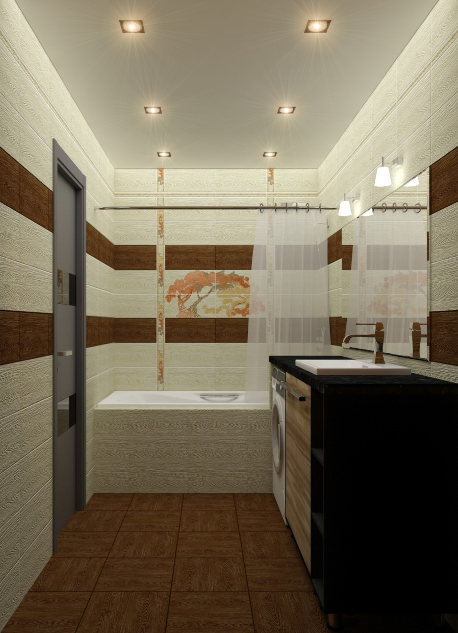 3d visualization of the project in the Bathroom 3d max, render vray of Yana Tolmacheva
