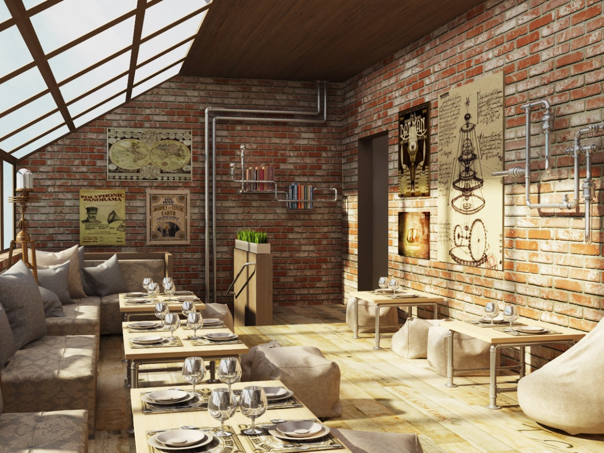 The interior of the bar in 3d max vray image
