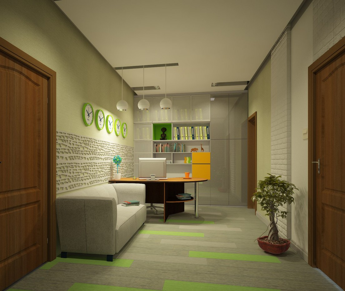 3d visualization of the project in the office 3d max, render vray of yanki