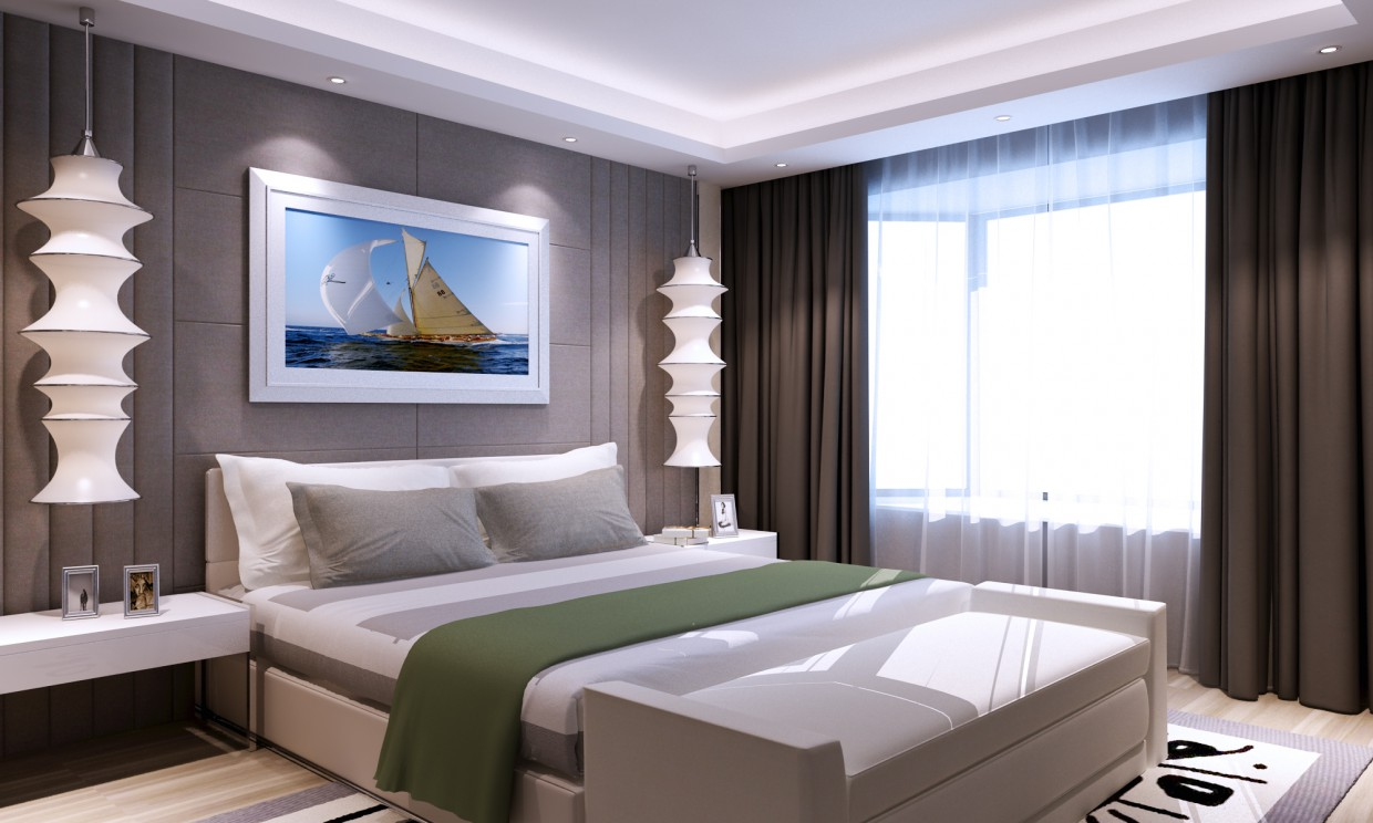 3d visualization of the project in the Bedroom 3d max, render vray of аскар