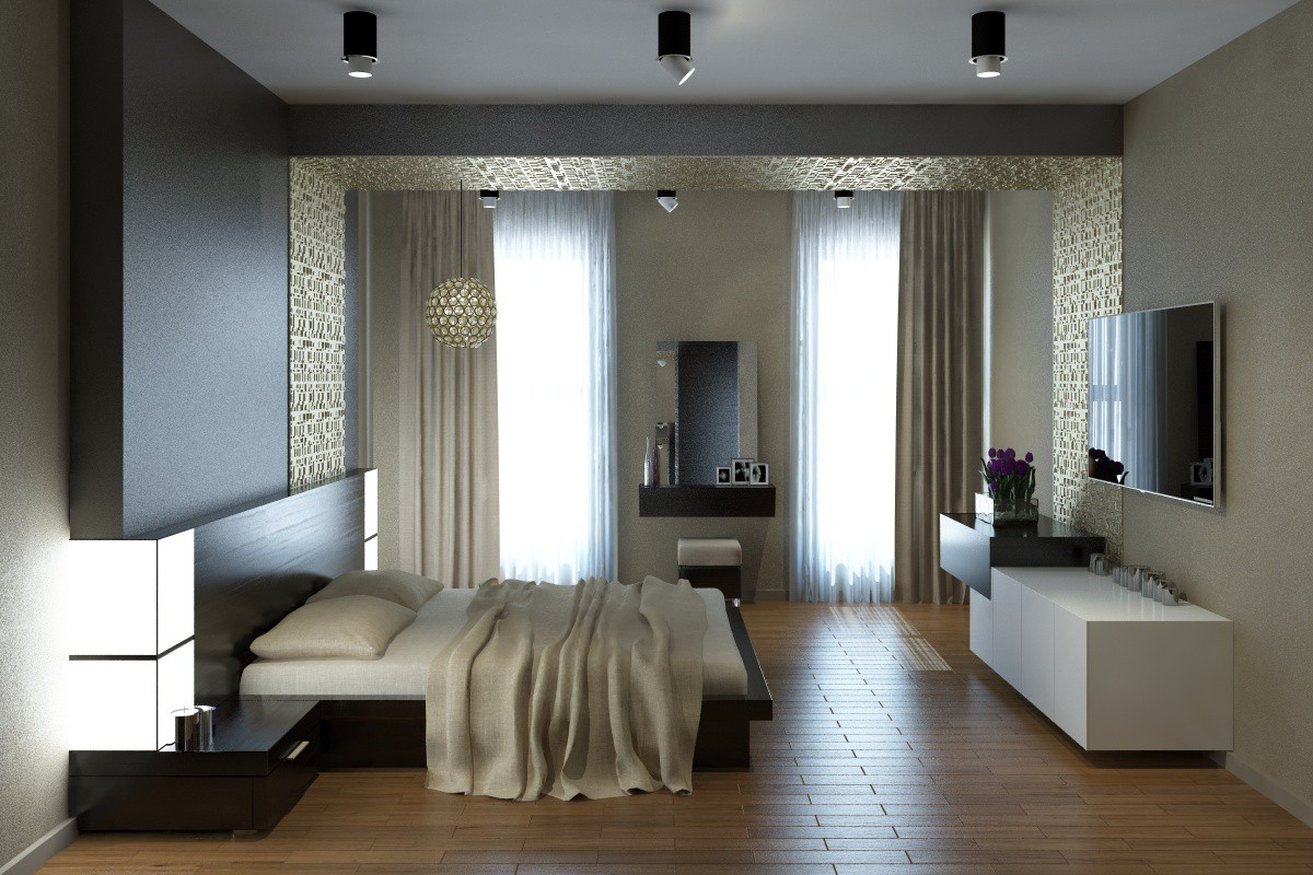 3d visualization of the project in the bedroom 3d max, render vray of Ulya