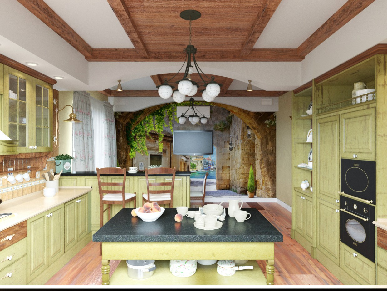 रसोई Provence 3d max corona render में प्रस्तुत छवि