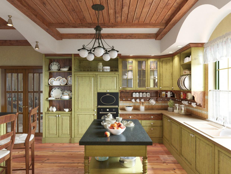 imagen de Cocina provenzal en 3d max corona render