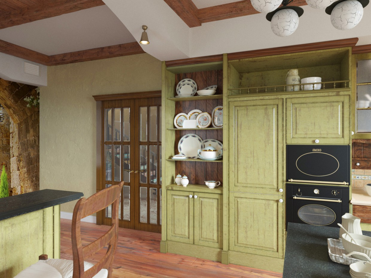 Kitchen Provence in 3d max corona render image