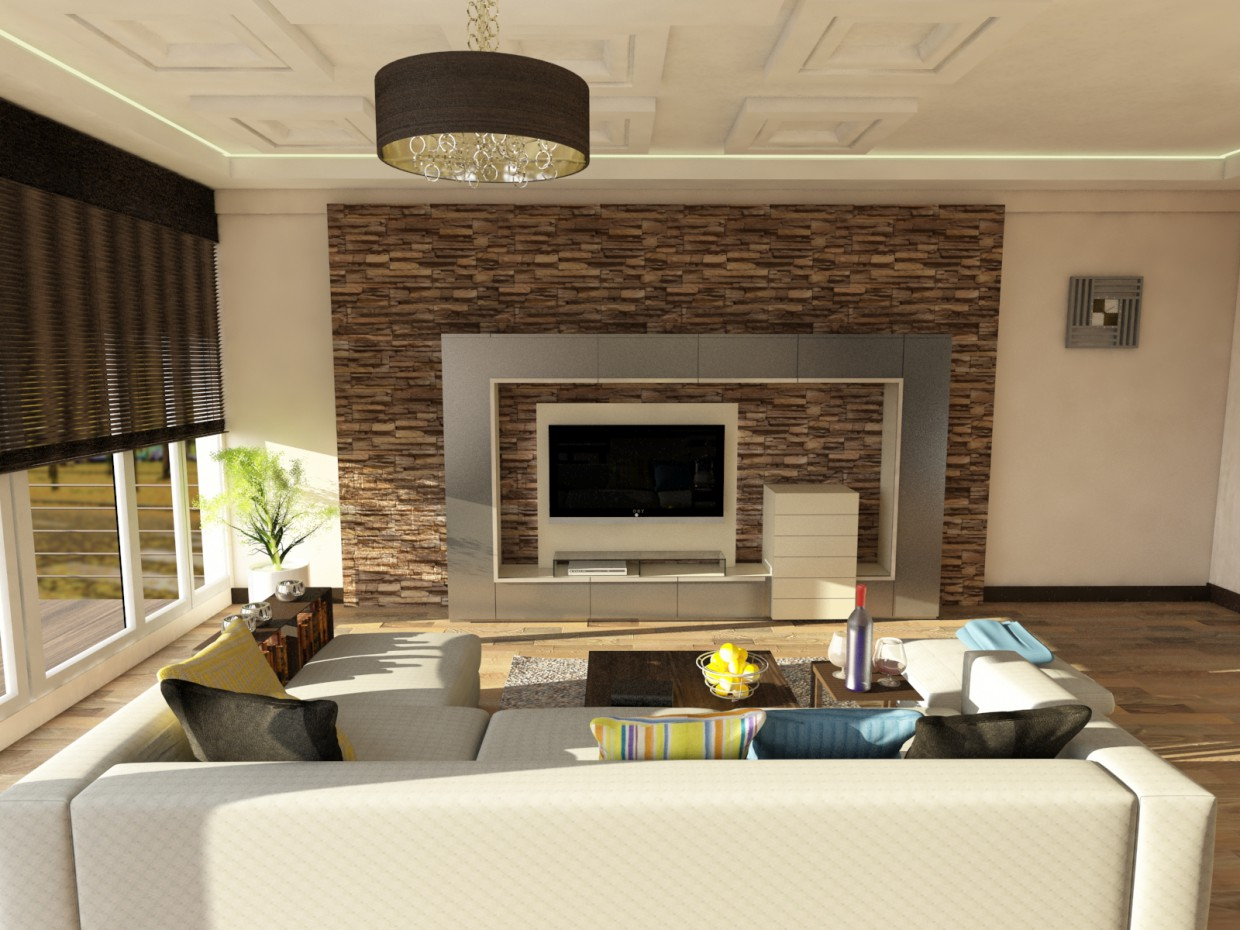tv room in 3d max vray image