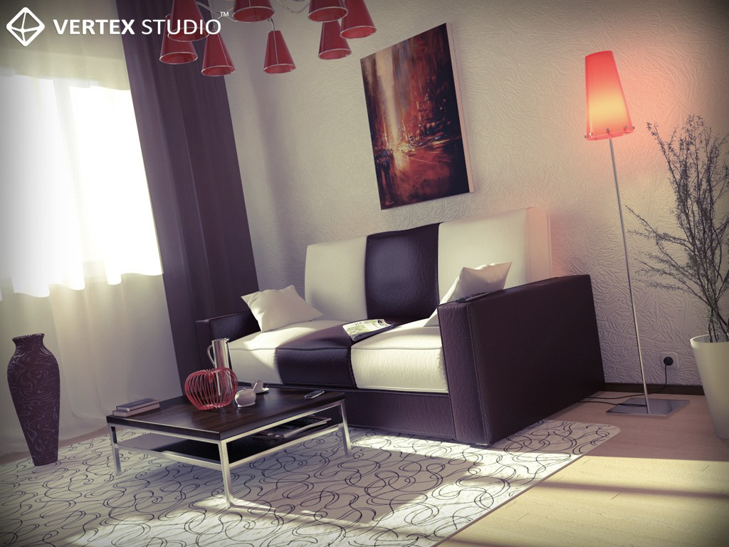 Bright room in 3d max mental ray resim