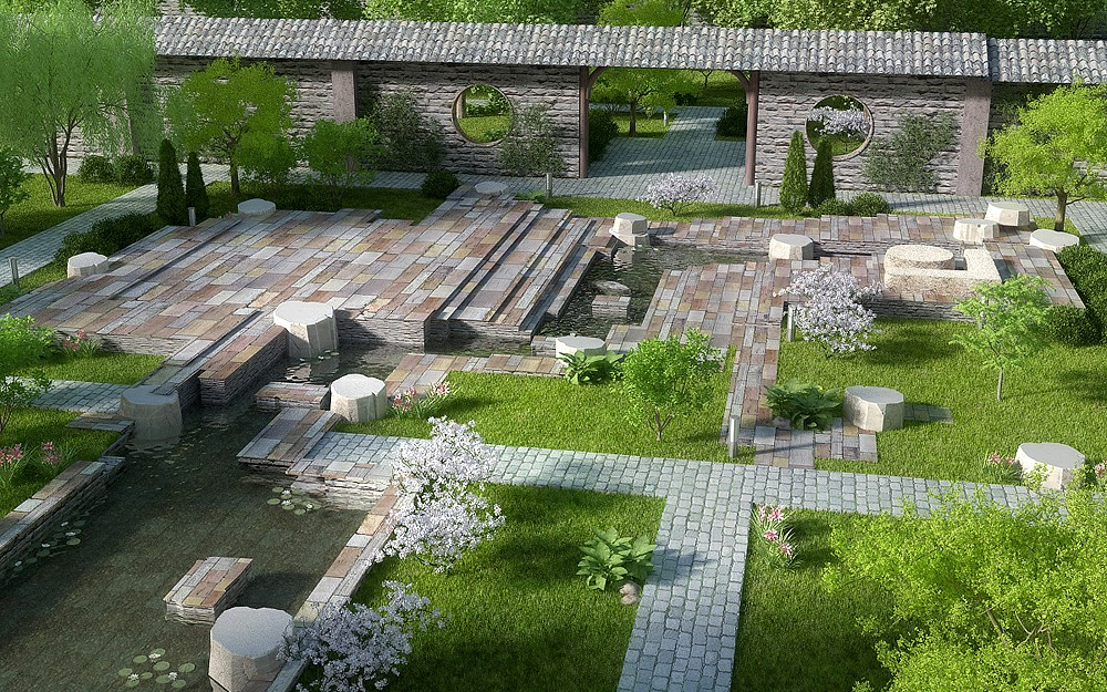 Landscaping in the Millennium Park in Blender corona render image