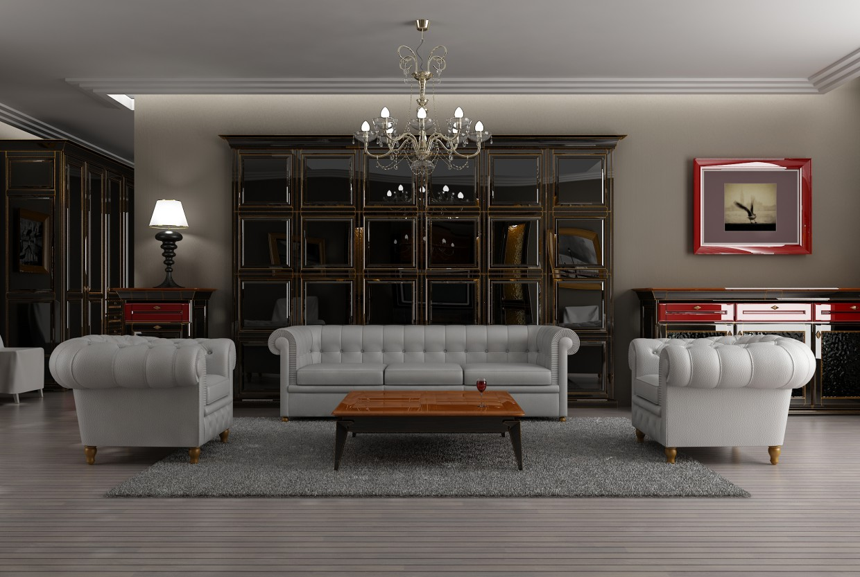 Sketch of classic interior  in  3d max   vray  image