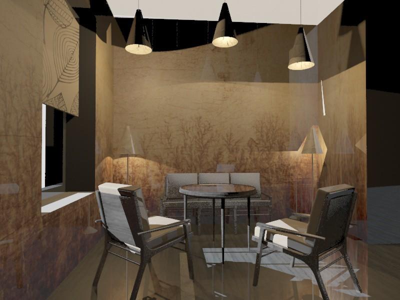 visualización 3D del proyecto en el café 3d max render vray amazonka
