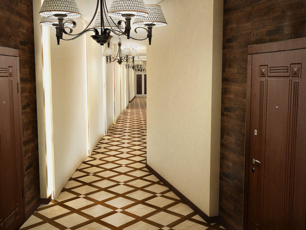 Hallway in 3d max vray 3.0 image