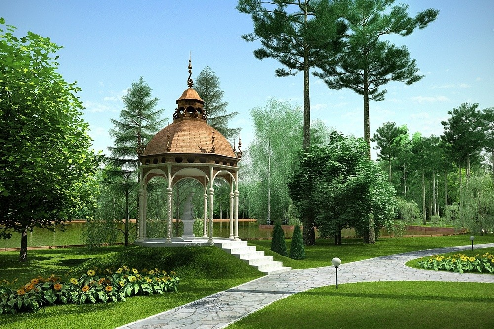 "Landscaping of the territory ""Deauville"" in 3d max corona render image"