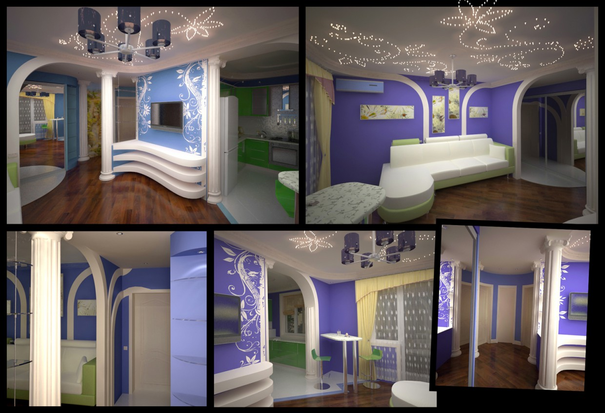 Apartments interior in 3d max vray image