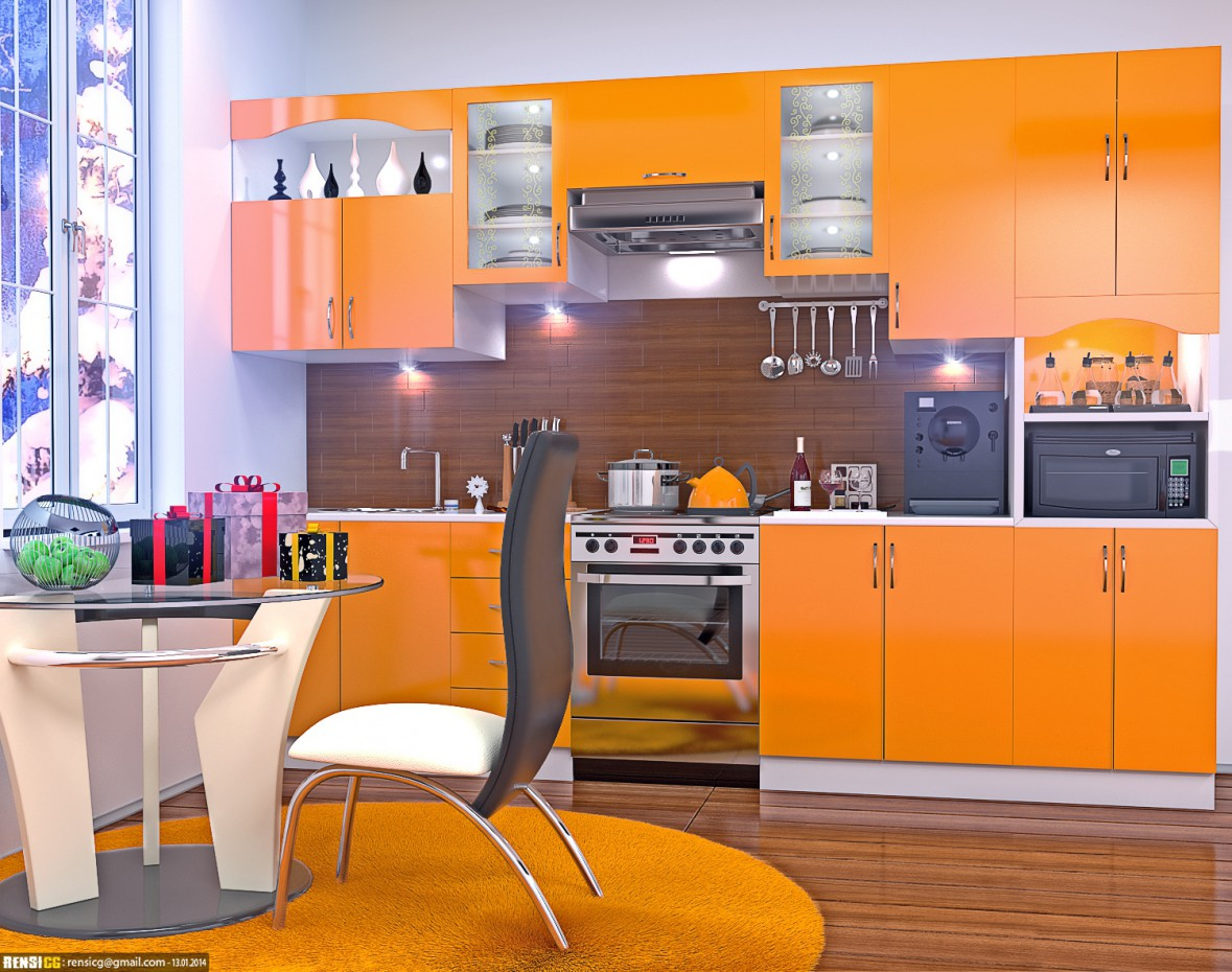 3d visualization of the project in the Orange kitchen, in the new year 3d max, render corona render of RensiCG