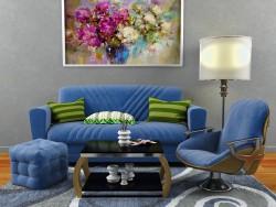 सेट-सोफा, कुर्सी, मेज, कालीन।