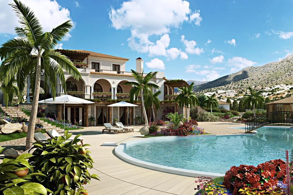 Villa in Crete in 3d max corona render image
