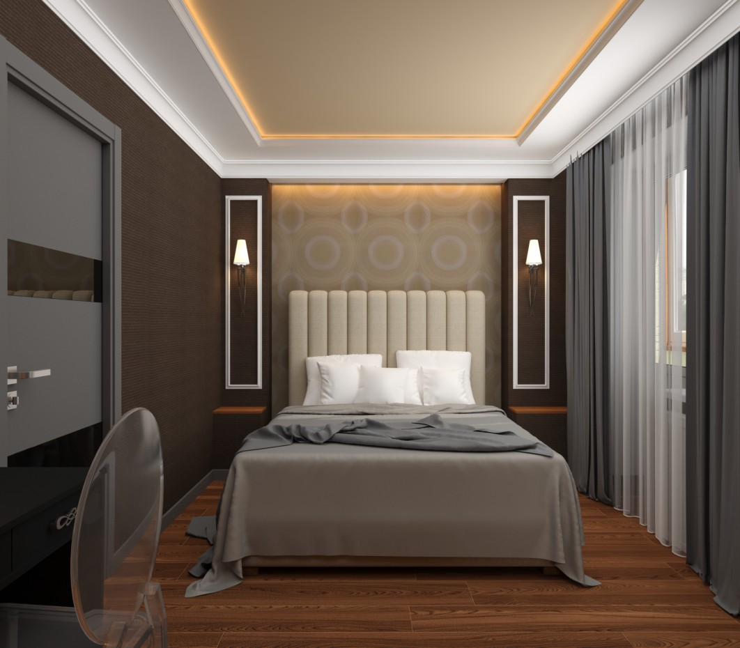 3d visualization of the project in the Bedroom in the style of Art Deco 3d max, render vray of Yana Tolmacheva