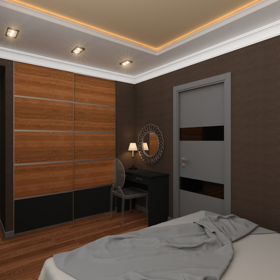 Спальная комната в стилистике Ар Деко в 3d max vray изображение