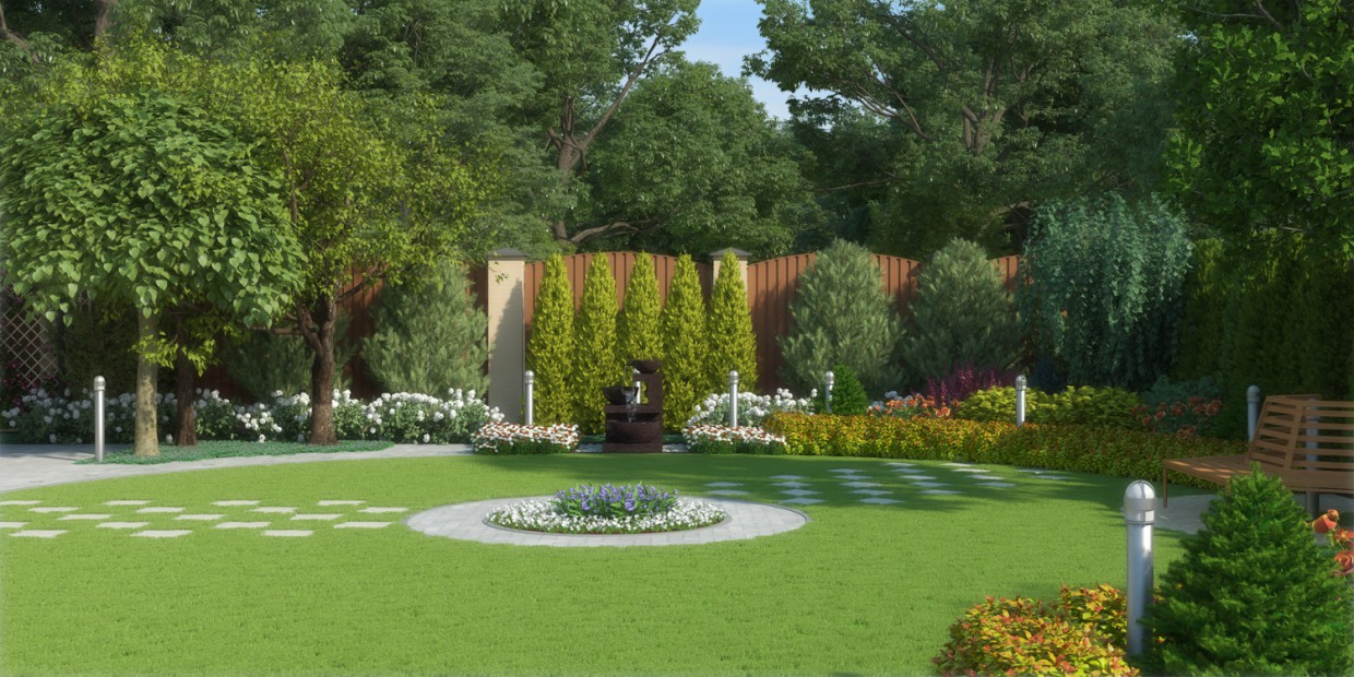 Landscaping project plot in 3d max vray 3.0 image