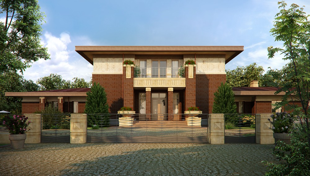 House in Wright style in Blender cycles render image
