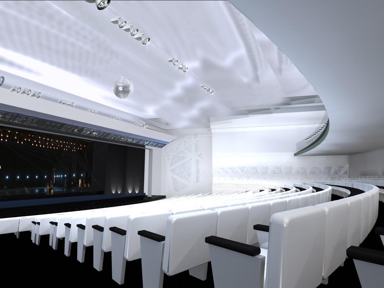 कार्रवाई हॉल इंटीरियर 3d max vray में प्रस्तुत छवि
