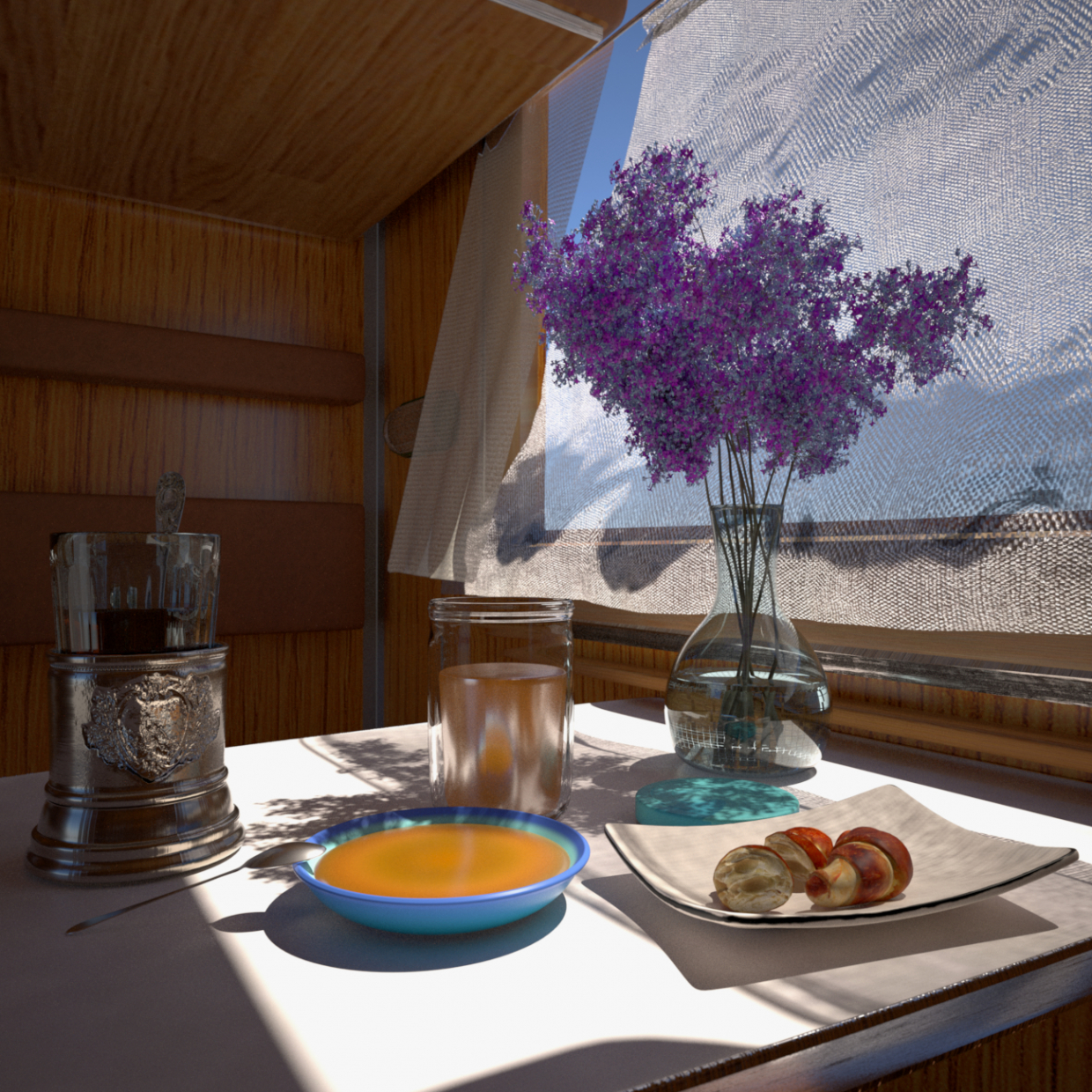 3d visualization of the project in the In the compartment (light breakfast ... or dinner) Cinema 4d, render indigo renderer of Vl Br