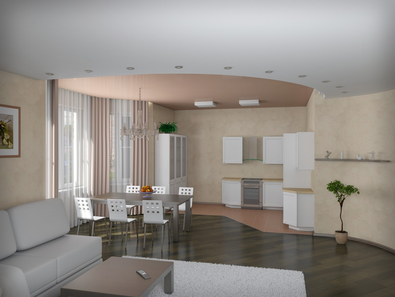 Visualização 3D do projecto no Sala de estar 3d max , processar vray Расима Гайфутдинова